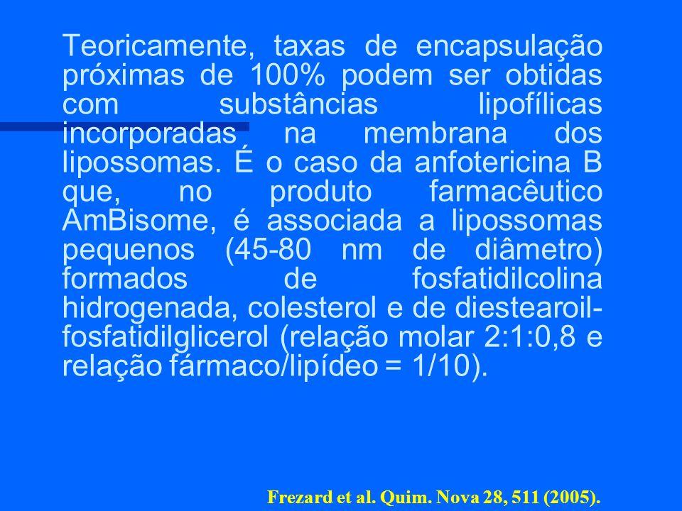 Teoricamente, taxas de encapsulação próximas de 100% podem ser obtidas com substâncias lipofílicas incorporadas na membrana dos lipossomas. É o caso da anfotericina B que, no produto farmacêutico AmBisome, é associada a lipossomas pequenos (45-80 nm de diâmetro) formados de fosfatidilcolina hidrogenada, colesterol e de diestearoil-fosfatidilglicerol (relação molar 2:1:0,8 e relação fármaco/lipídeo = 1/10).