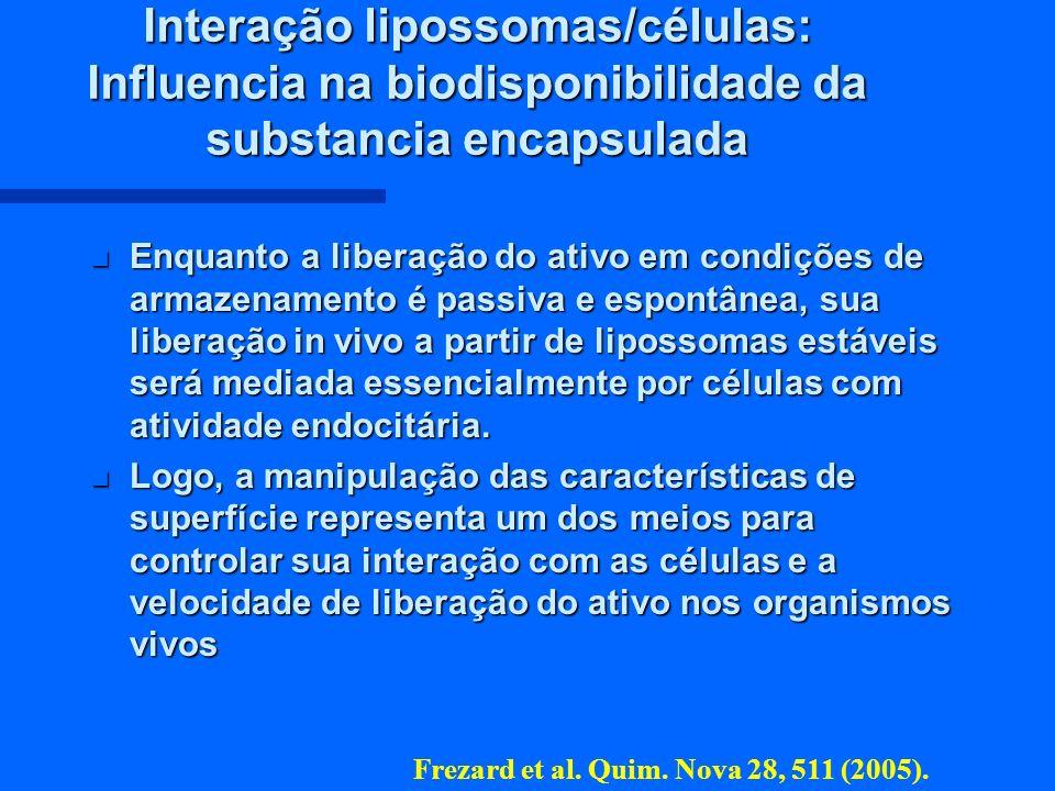 Interação lipossomas/células: Influencia na biodisponibilidade da substancia encapsulada