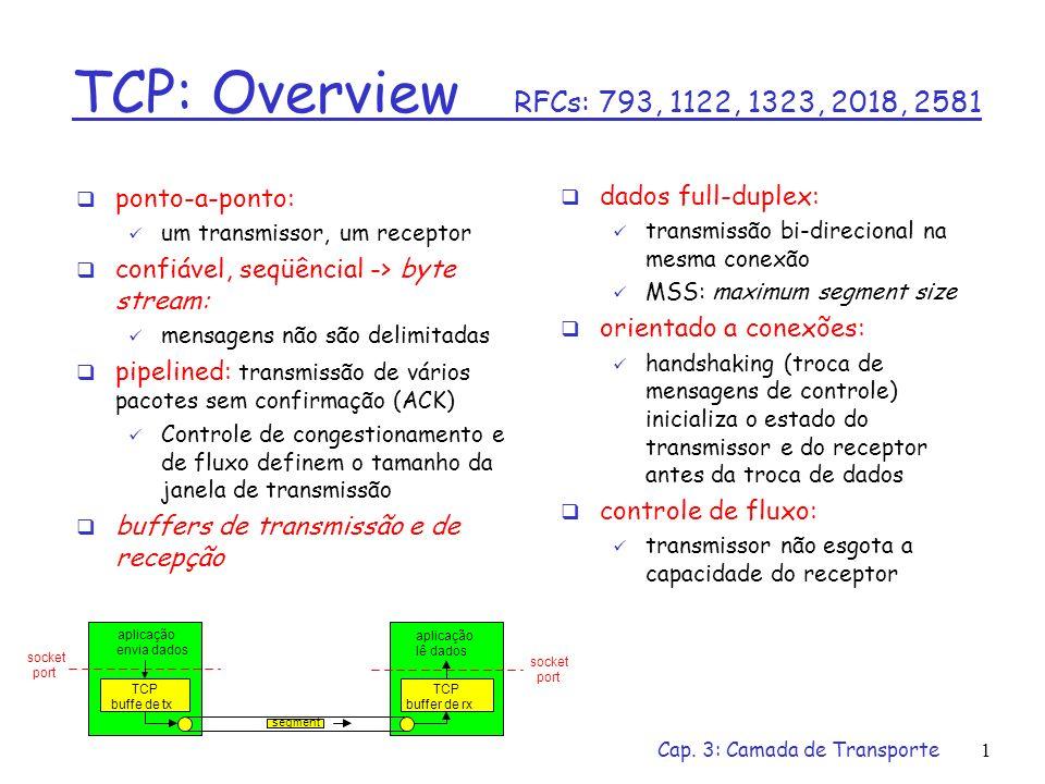 TCP: Overview RFCs: 793, 1122, 1323, 2018, 2581 ponto-a-ponto:
