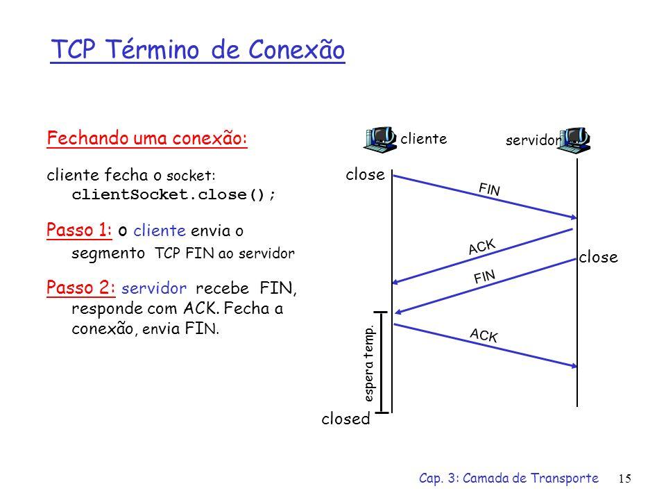 TCP Término de Conexão Fechando uma conexão: