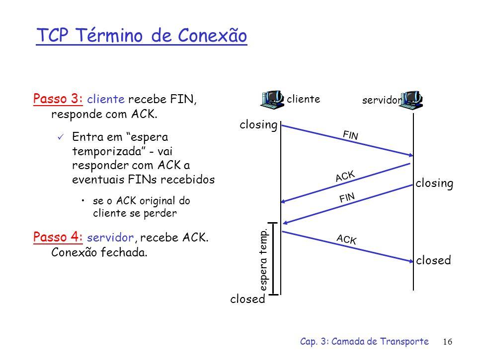 TCP Término de Conexão Passo 3: cliente recebe FIN, responde com ACK.