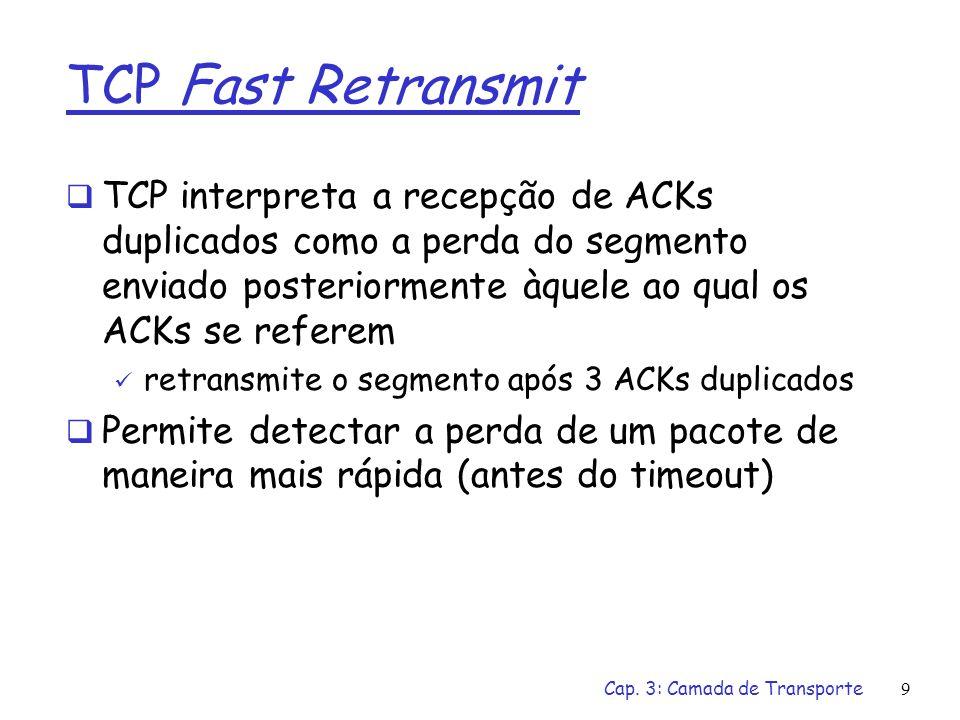 TCP Fast Retransmit TCP interpreta a recepção de ACKs duplicados como a perda do segmento enviado posteriormente àquele ao qual os ACKs se referem.