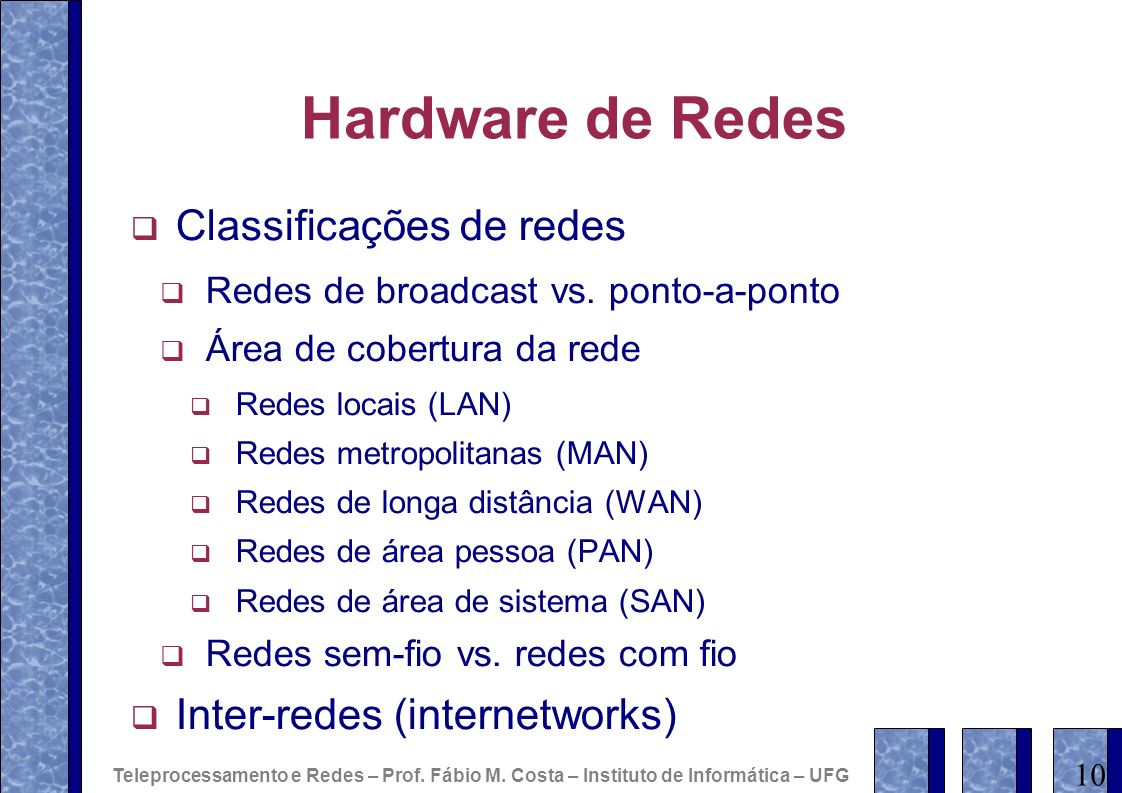 Hardware de Redes Classificações de redes Inter-redes (internetworks)