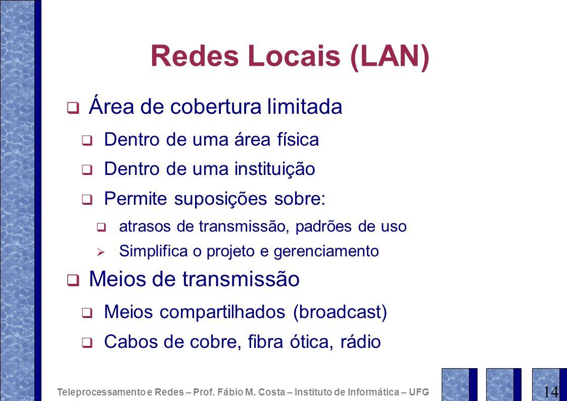 Redes Locais (LAN) Área de cobertura limitada Meios de transmissão