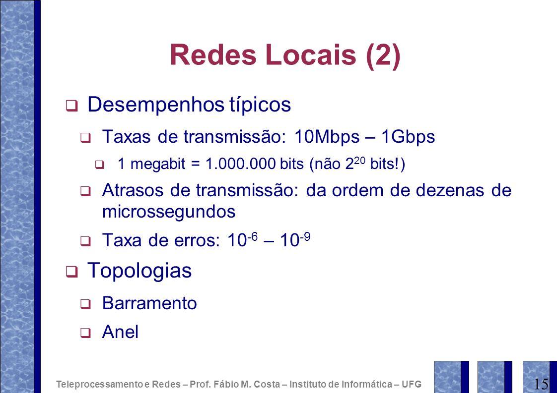 Redes Locais (2) Desempenhos típicos Topologias