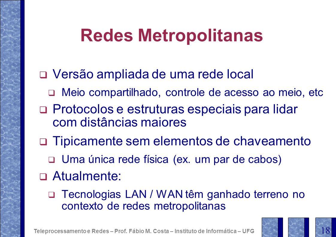 Redes Metropolitanas Versão ampliada de uma rede local