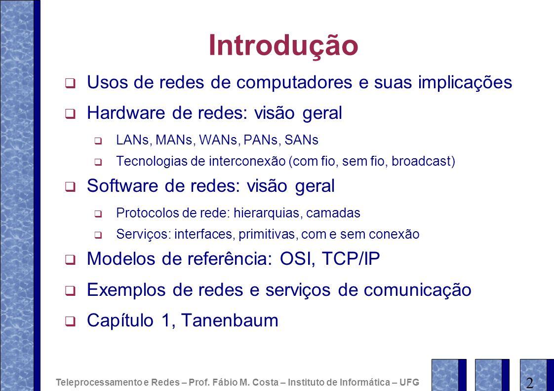 Introdução Usos de redes de computadores e suas implicações