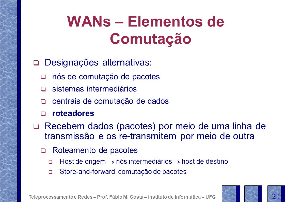 WANs – Elementos de Comutação