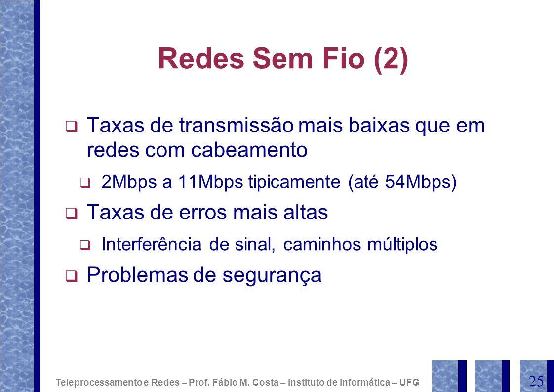 Redes Sem Fio (2) Taxas de transmissão mais baixas que em redes com cabeamento. 2Mbps a 11Mbps tipicamente (até 54Mbps)