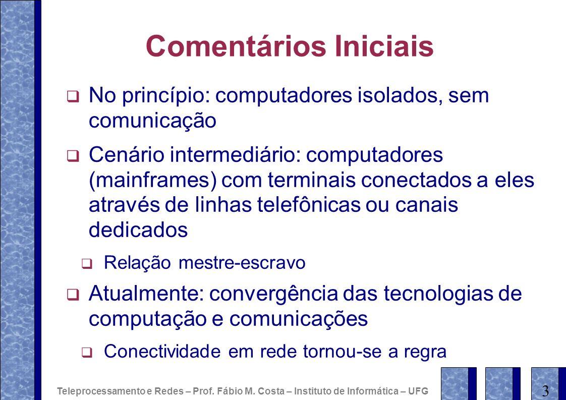 Comentários IniciaisNo princípio: computadores isolados, sem comunicação.