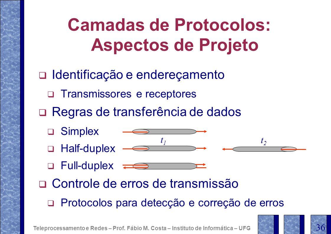 Camadas de Protocolos: Aspectos de Projeto