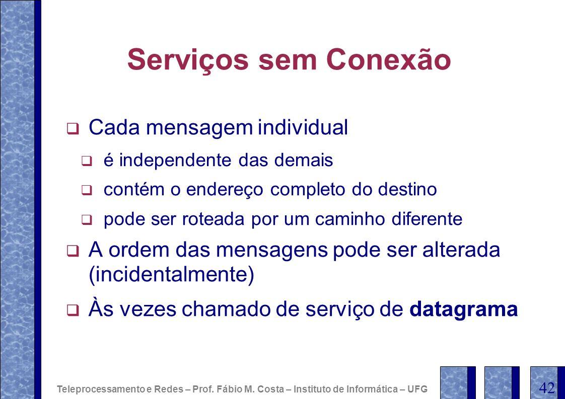 Serviços sem Conexão Cada mensagem individual