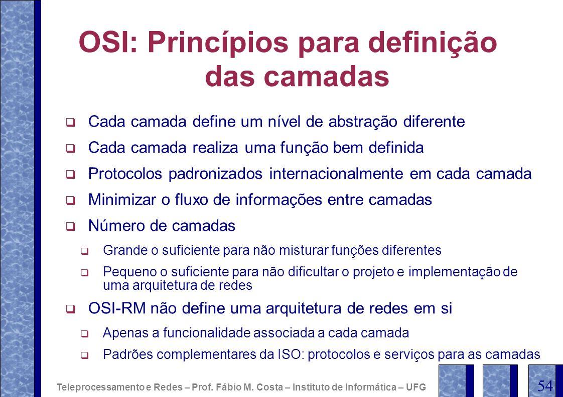 OSI: Princípios para definição das camadas
