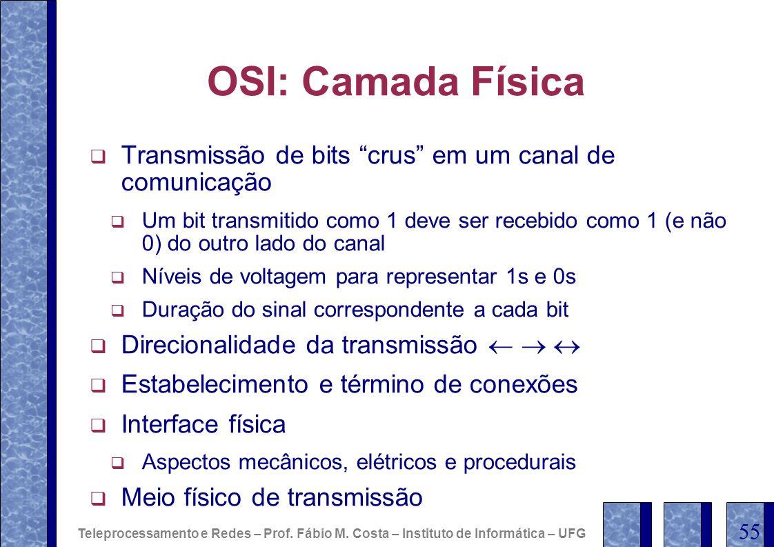 OSI: Camada Física Transmissão de bits crus em um canal de comunicação.