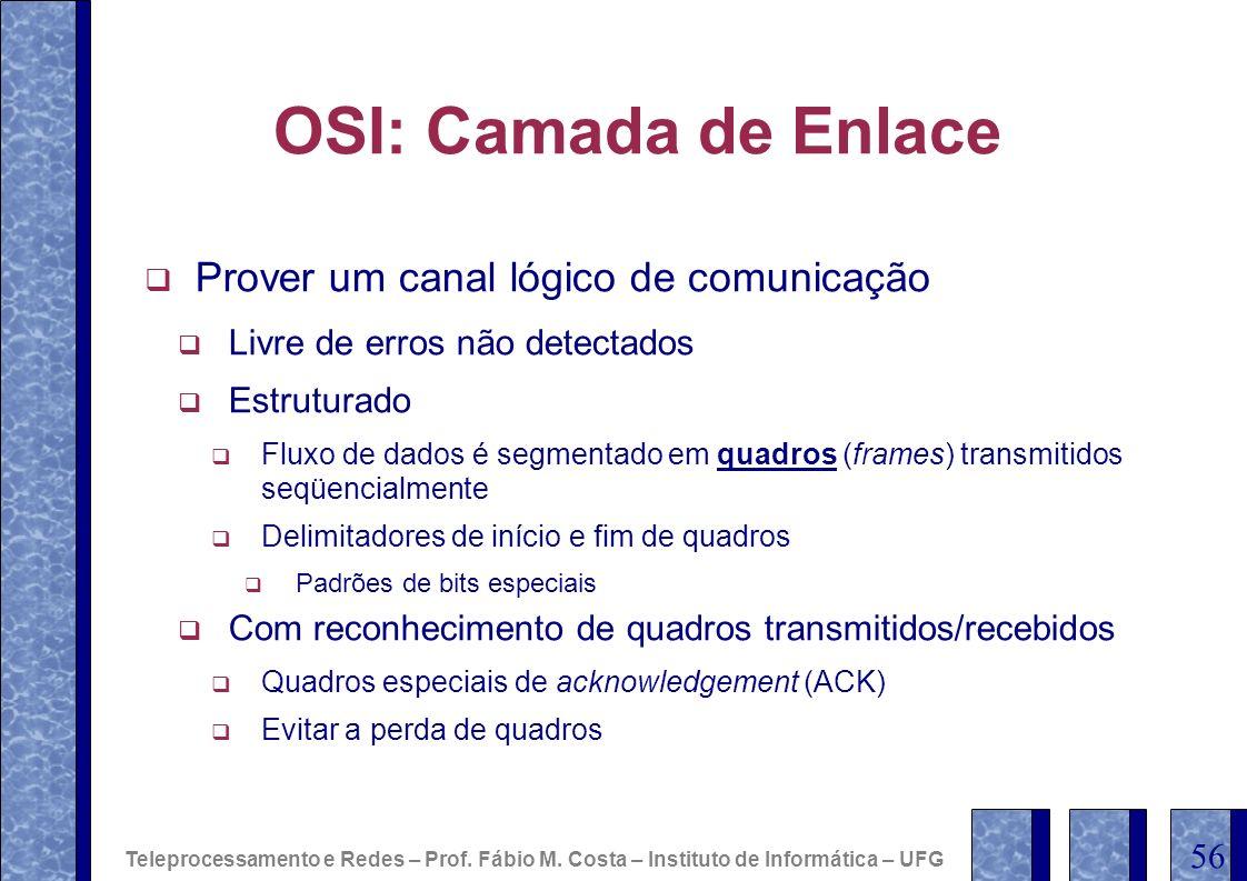OSI: Camada de Enlace Prover um canal lógico de comunicação