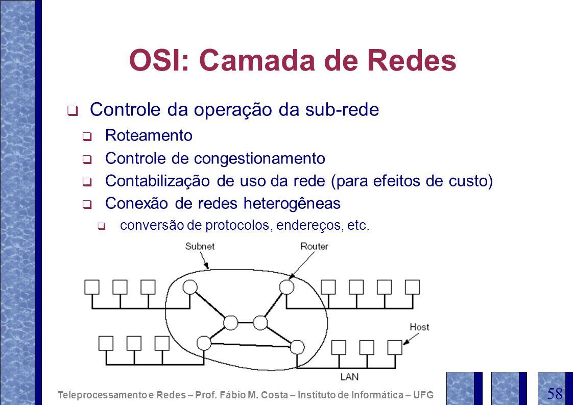 OSI: Camada de Redes Controle da operação da sub-rede Roteamento