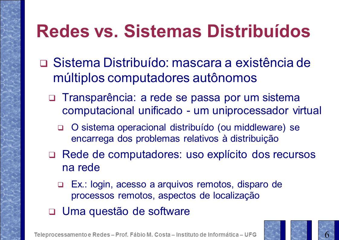 Redes vs. Sistemas Distribuídos