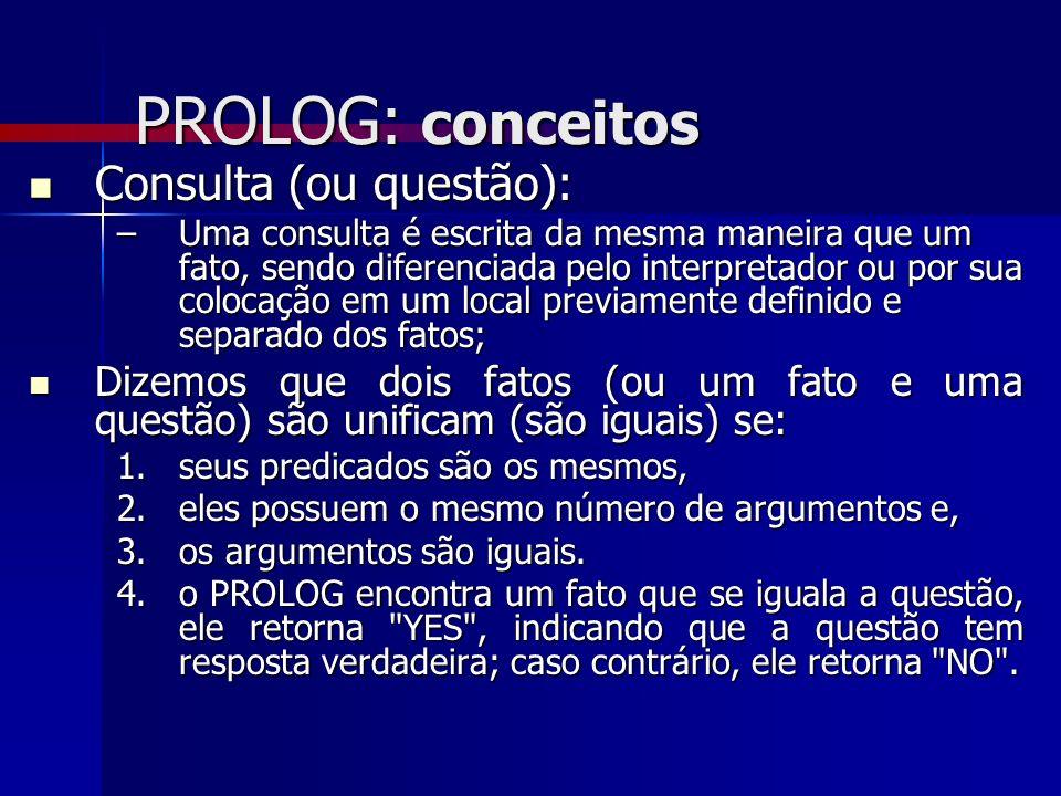 PROLOG: conceitos Consulta (ou questão):