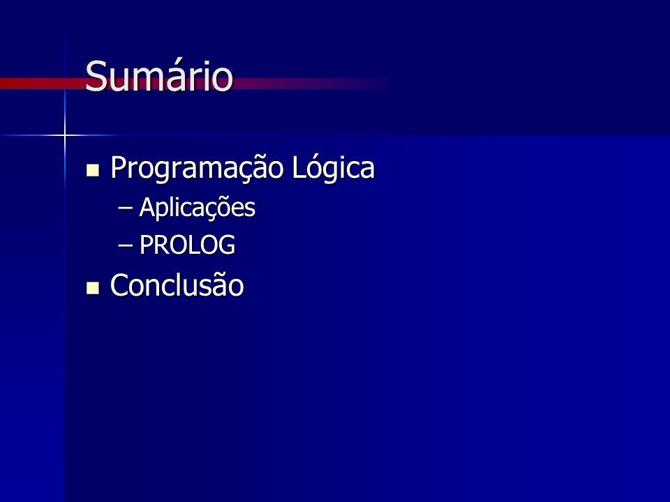 Sumário Programação Lógica Aplicações PROLOG Conclusão