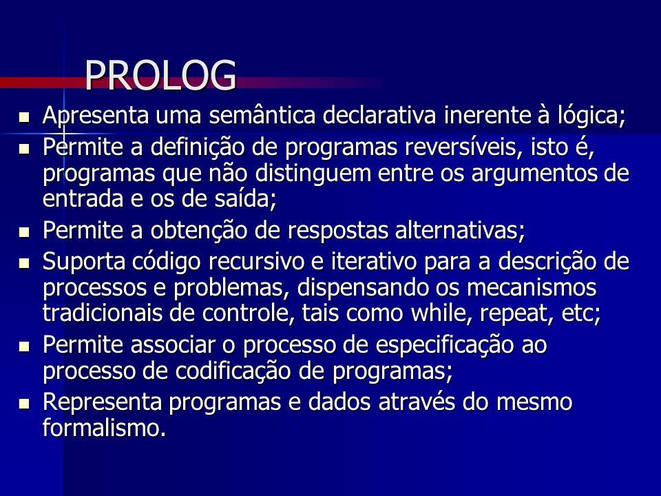 PROLOG Apresenta uma semântica declarativa inerente à lógica;