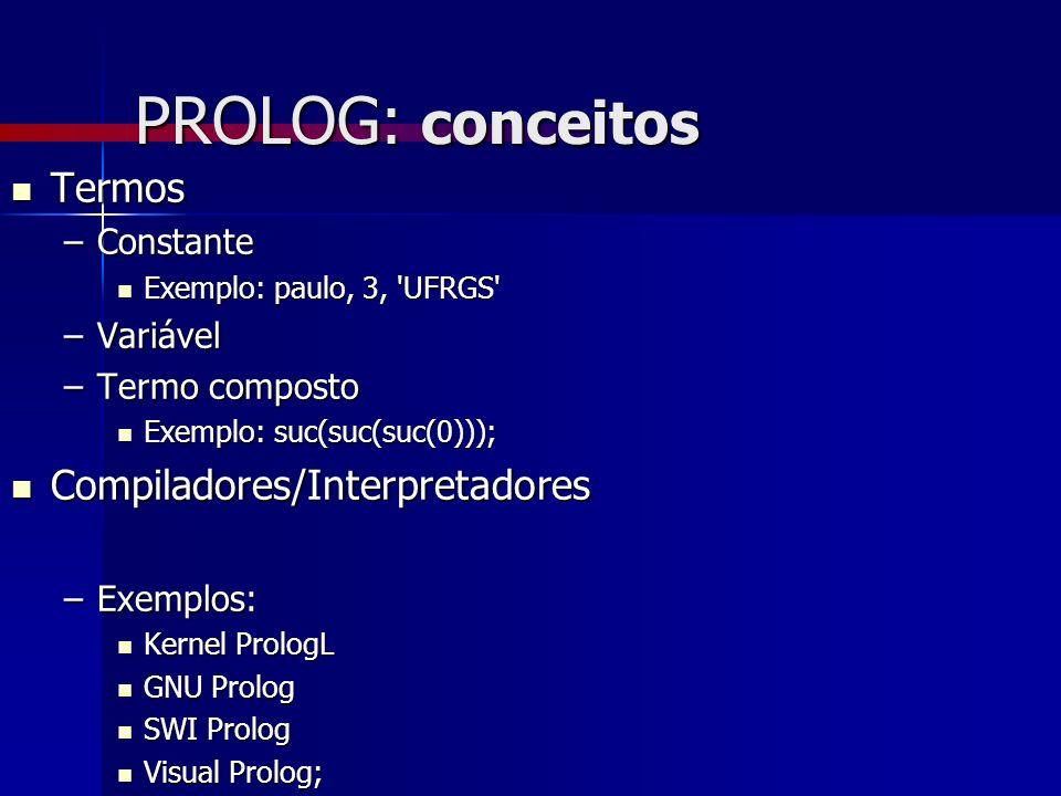 PROLOG: conceitos Termos Compiladores/Interpretadores Constante