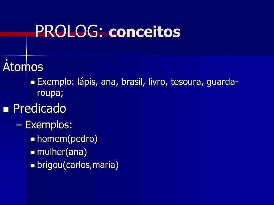 PROLOG: conceitos Átomos Predicado Exemplos: