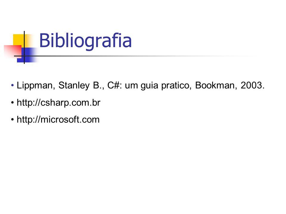 Bibliografia Lippman, Stanley B., C#: um guia pratico, Bookman, 2003.