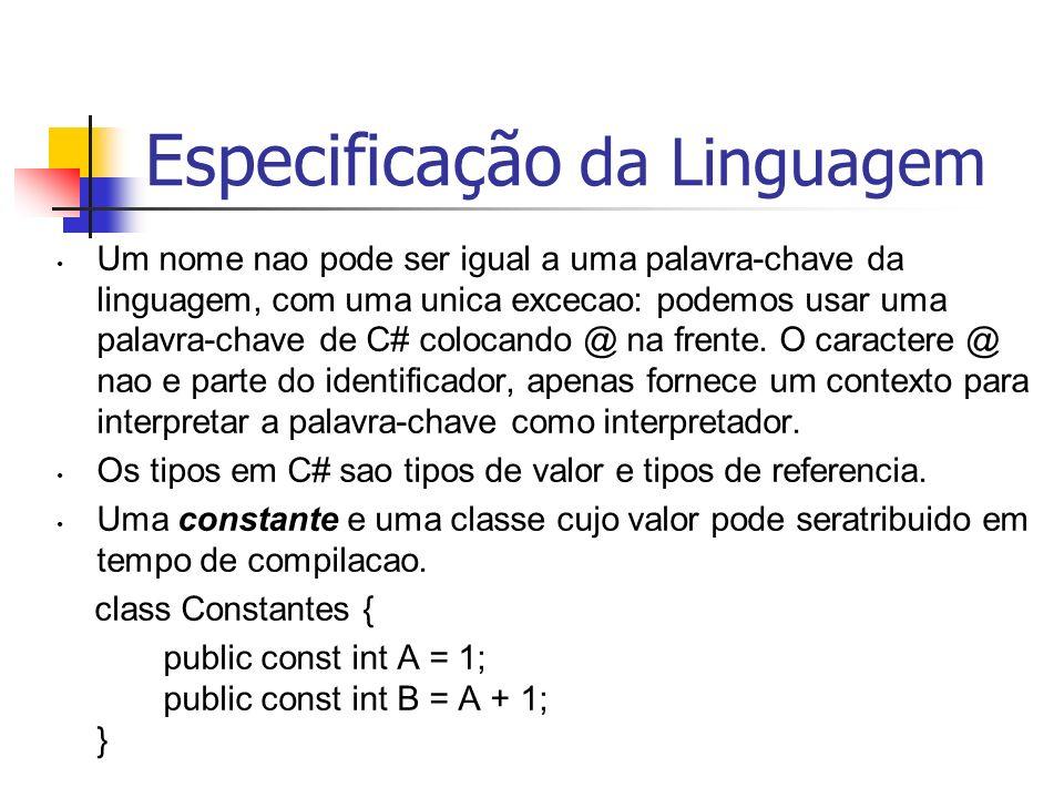Especificação da Linguagem