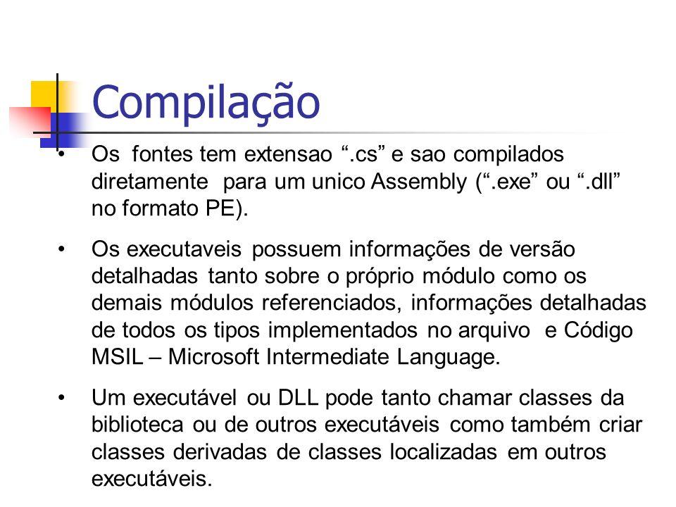 Compilação Os fontes tem extensao .cs e sao compilados diretamente para um unico Assembly ( .exe ou .dll no formato PE).