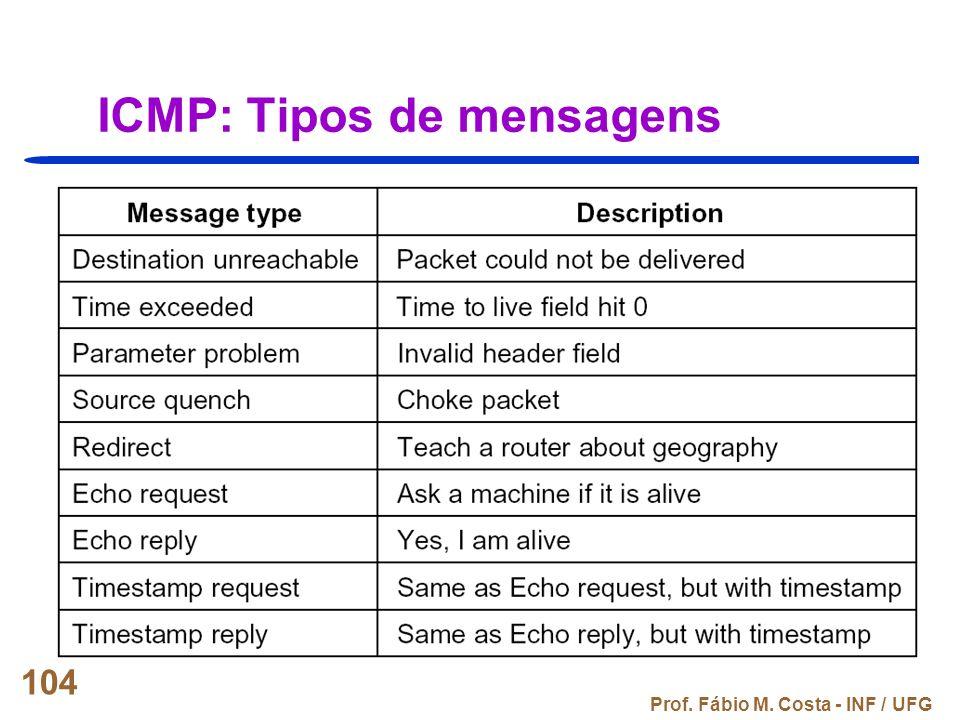 ICMP: Tipos de mensagens