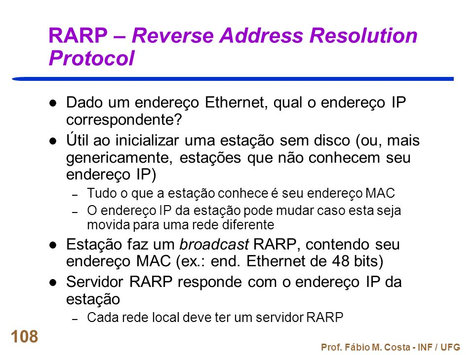 RARP – Reverse Address Resolution Protocol