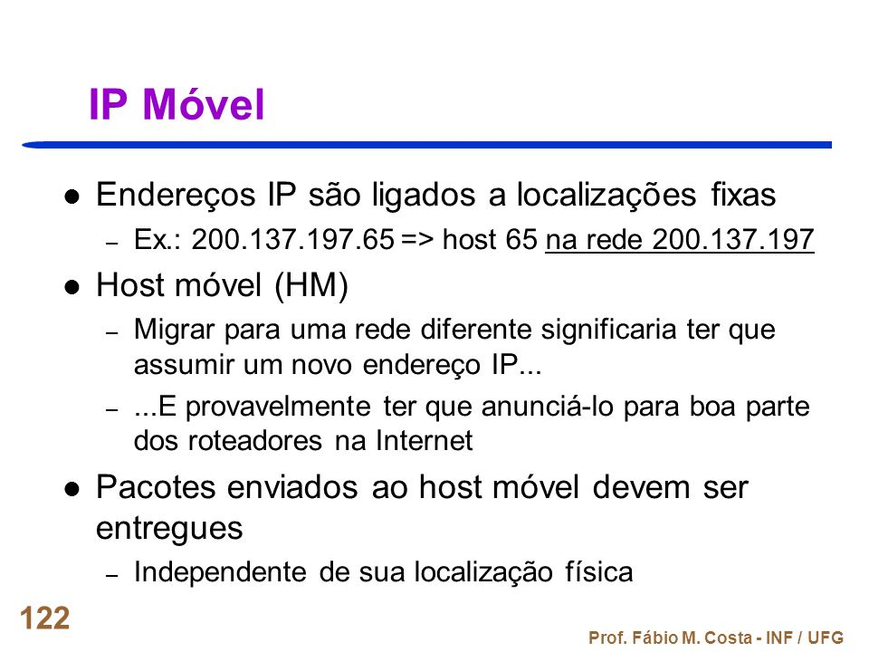 IP Móvel Endereços IP são ligados a localizações fixas Host móvel (HM)