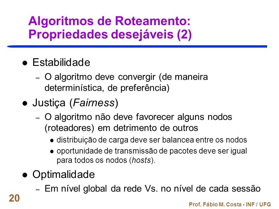 Algoritmos de Roteamento: Propriedades desejáveis (2)