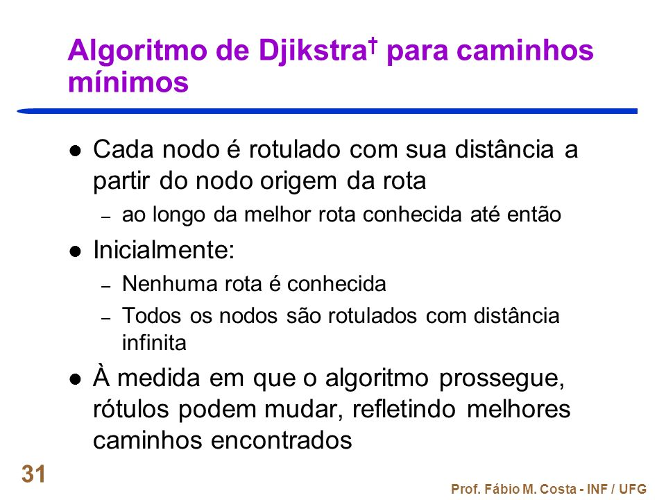 Algoritmo de Djikstra† para caminhos mínimos