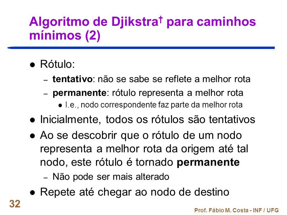 Algoritmo de Djikstra† para caminhos mínimos (2)