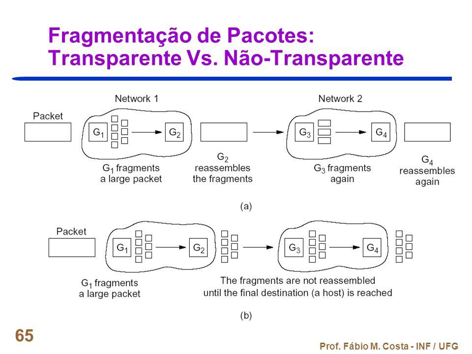 Fragmentação de Pacotes: Transparente Vs. Não-Transparente