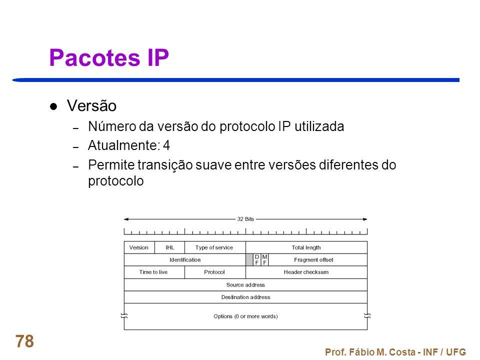 Pacotes IP Versão Número da versão do protocolo IP utilizada