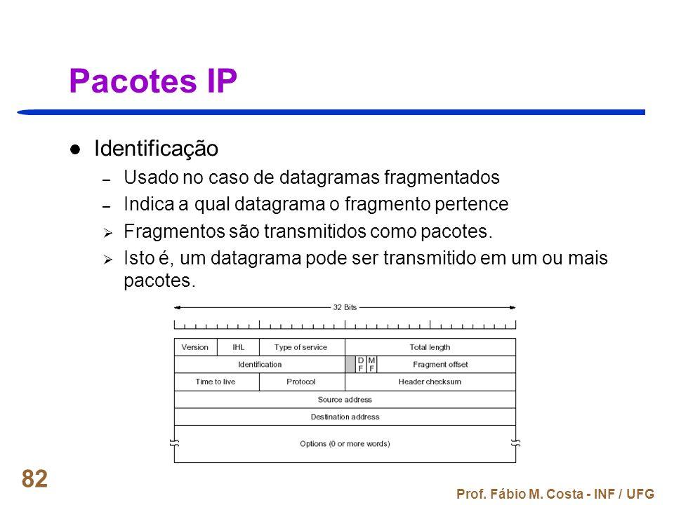 Pacotes IP Identificação Usado no caso de datagramas fragmentados