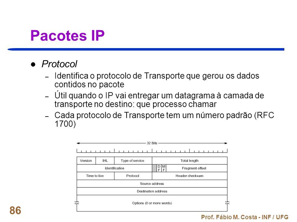 Pacotes IP Protocol. Identifica o protocolo de Transporte que gerou os dados contidos no pacote.