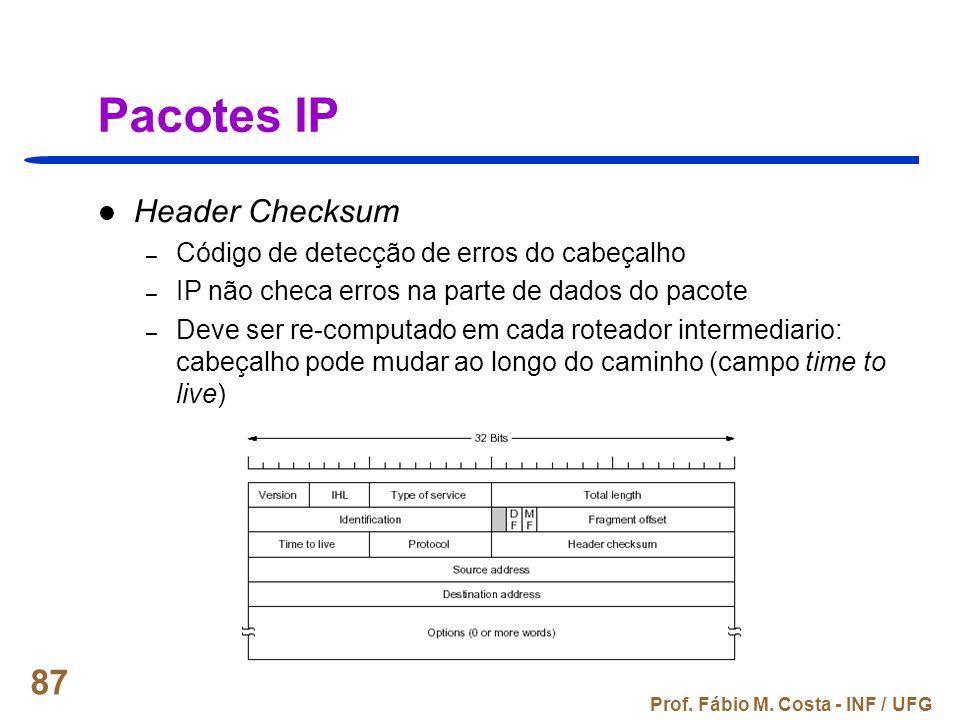 Pacotes IP Header Checksum Código de detecção de erros do cabeçalho