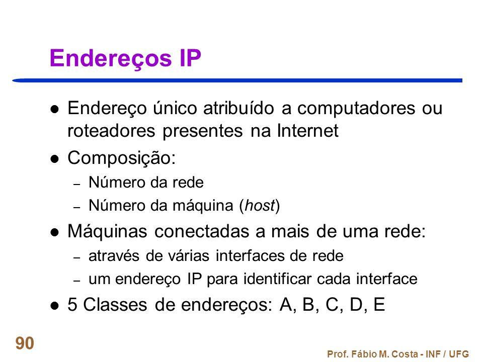 Endereços IP Endereço único atribuído a computadores ou roteadores presentes na Internet. Composição:
