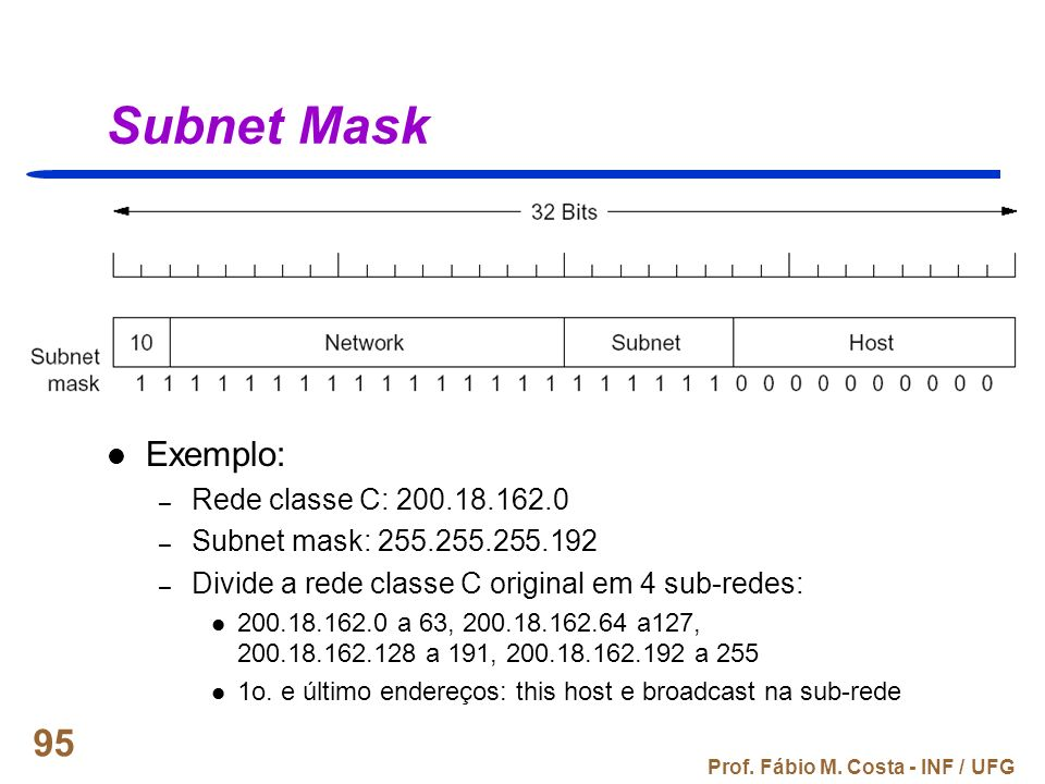Subnet Mask Exemplo: Rede classe C: 200.18.162.0