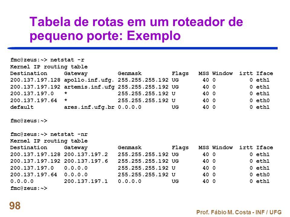 Tabela de rotas em um roteador de pequeno porte: Exemplo