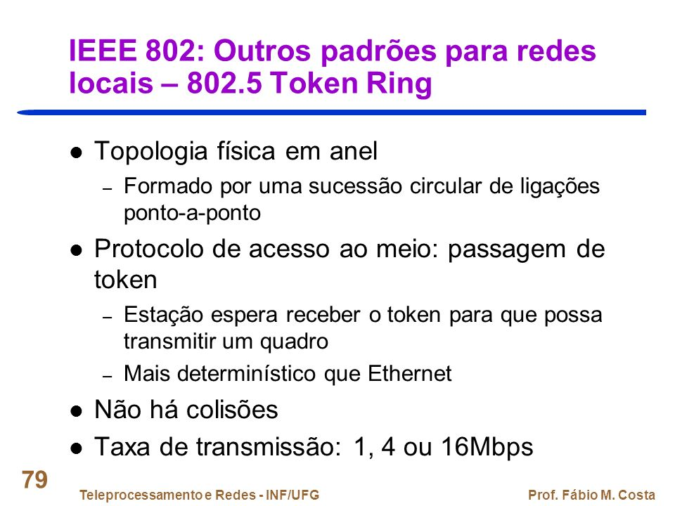 IEEE 802: Outros padrões para redes locais – 802.5 Token Ring