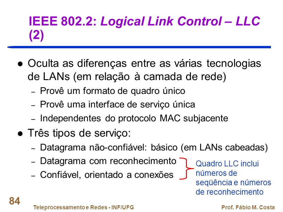 IEEE 802.2: Logical Link Control – LLC (2)