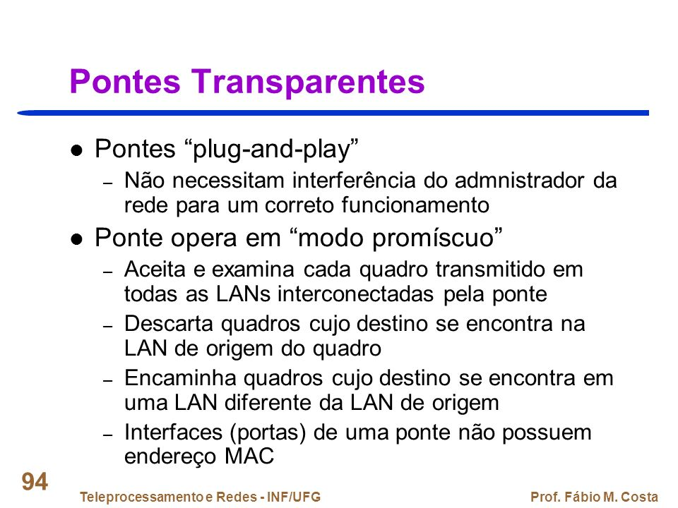 Pontes Transparentes Pontes plug-and-play