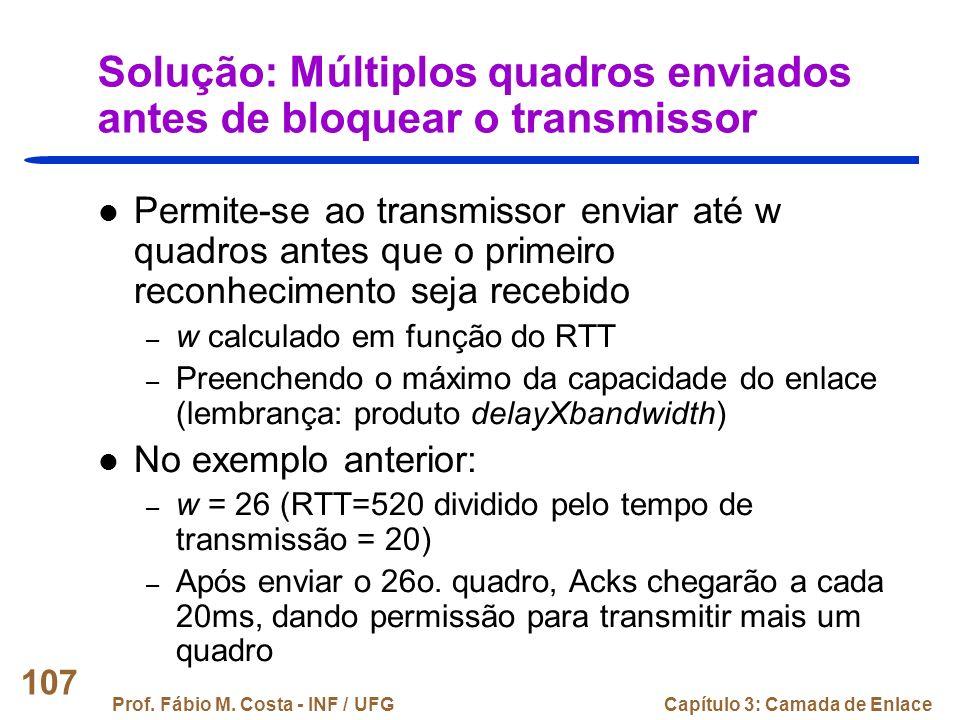 Solução: Múltiplos quadros enviados antes de bloquear o transmissor