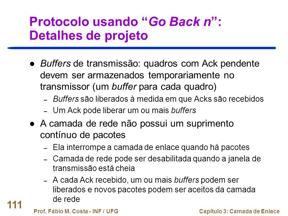 Protocolo usando Go Back n : Detalhes de projeto