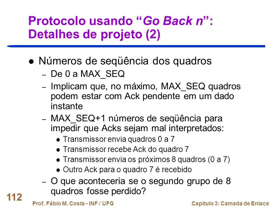 Protocolo usando Go Back n : Detalhes de projeto (2)