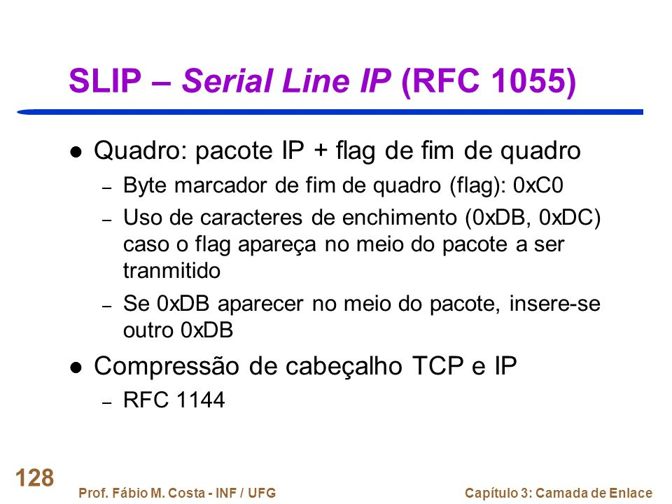 SLIP – Serial Line IP (RFC 1055)